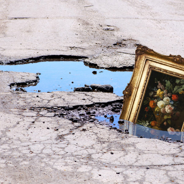 Black Diamond Paving Website Advertising Concept, framed old still life painting poking up out of a water-filled pothole