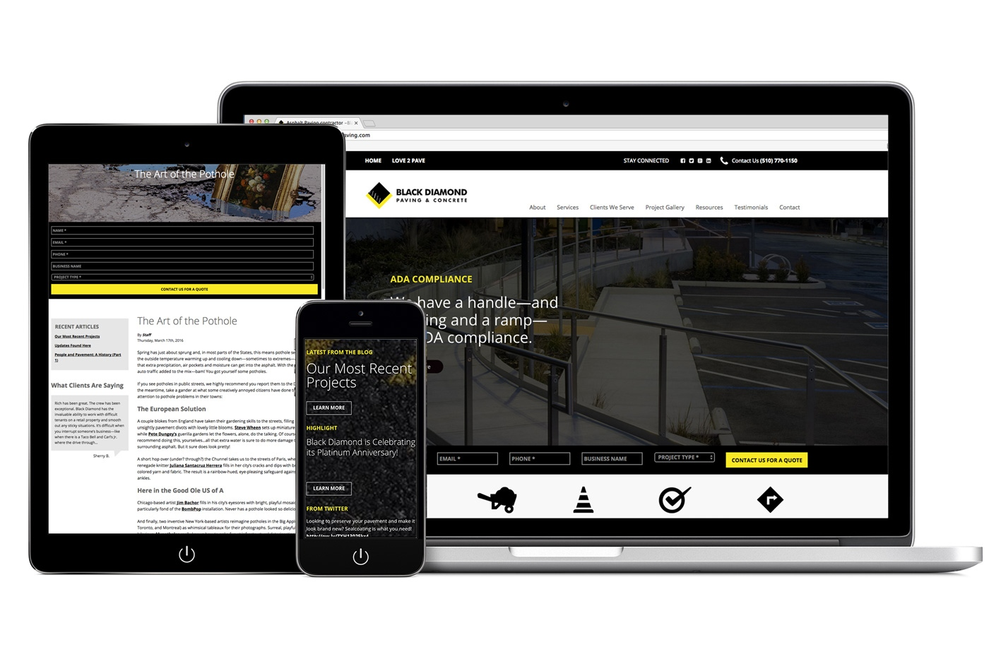 Black Diamond Paving Website Design showing various web pages on laptop, tablet, and mobile