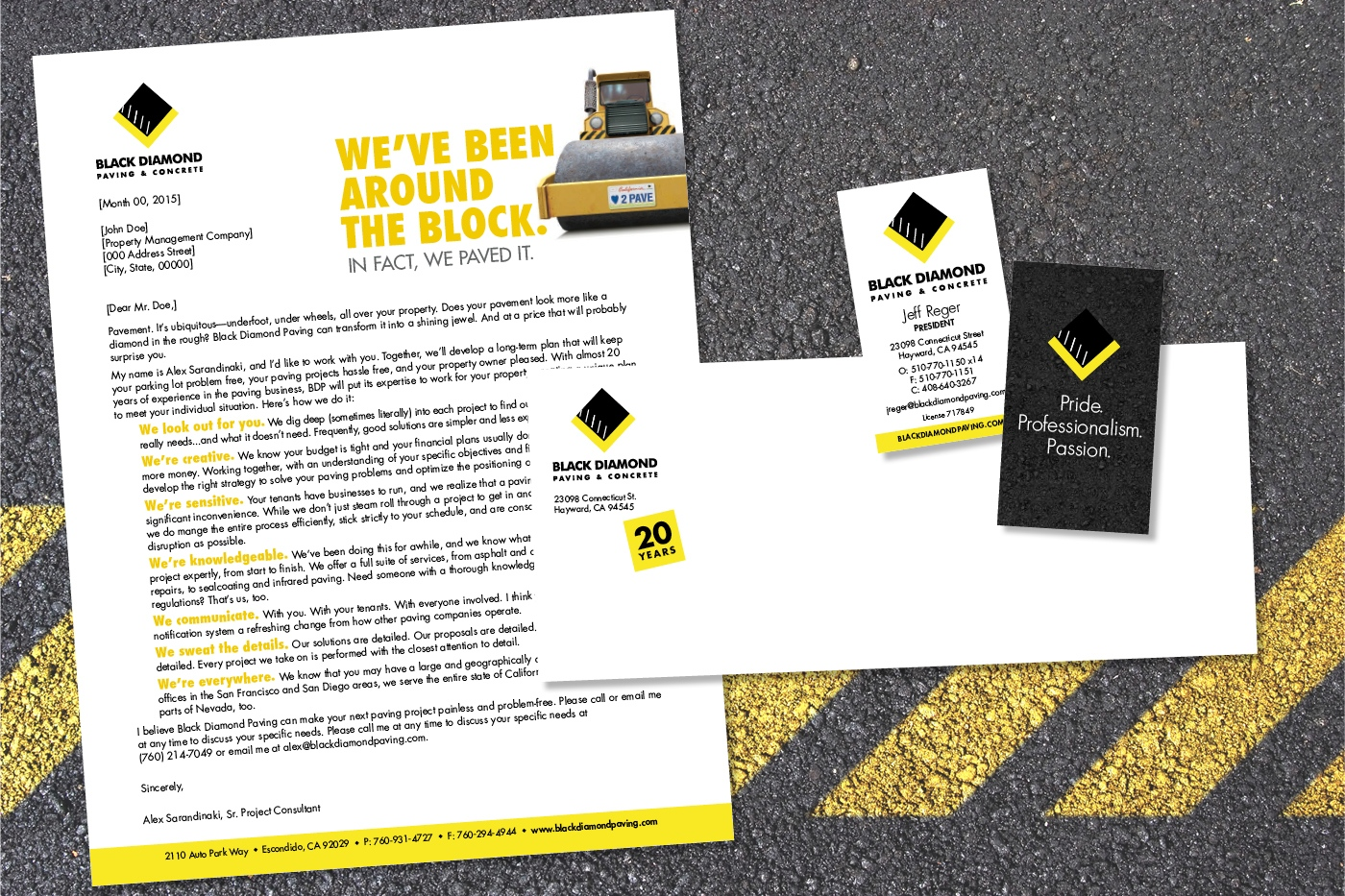 Black Diamond Paving Business Materials, showing letterhead, envelope, and front and back of business cards