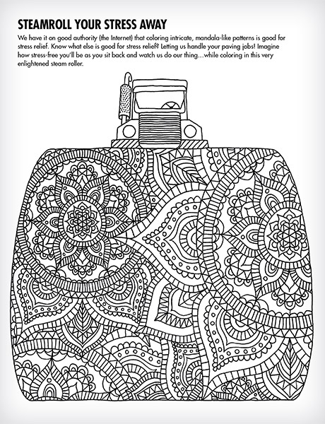 Black Diamond Paving Steamroll Your Stress Away page from activity book