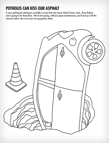 A black and white page from a coloring book shows a car falling into a sinkhole with traffic cone in the background. Title reads
