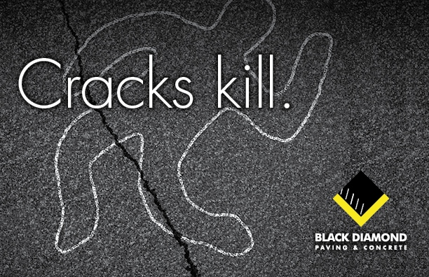 Marketing and advertising materials for Black Diamond Paving & Concrete, postcard design showing cracked asphalt with white chalk outline of a body and the words Cracks kill
