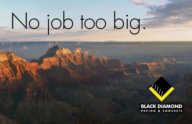 Marketing and advertising materials for Black Diamond Paving & Concrete, postcard design showing the Grand Canyon with the words No job too big.