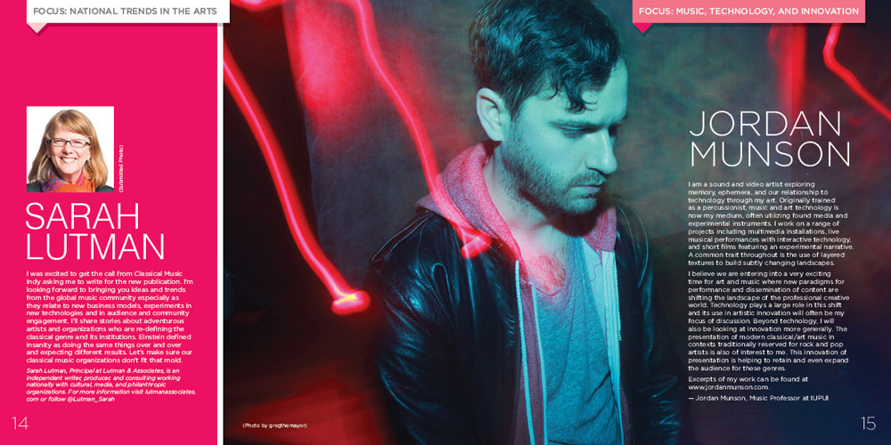 Design showing two page spread of Classical Music Indy publication NOTE, featuring musician Jordan Munson tinted in turquoise with red light streaks falling around him