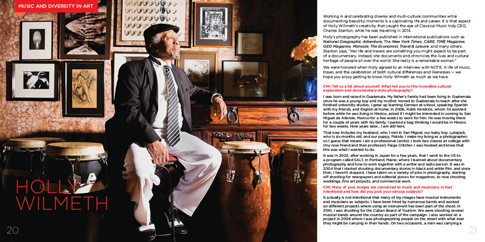 Design showing two page spread of Classical Music Indy publication, featuring musician sitting on a stool surrounded by bongo drums