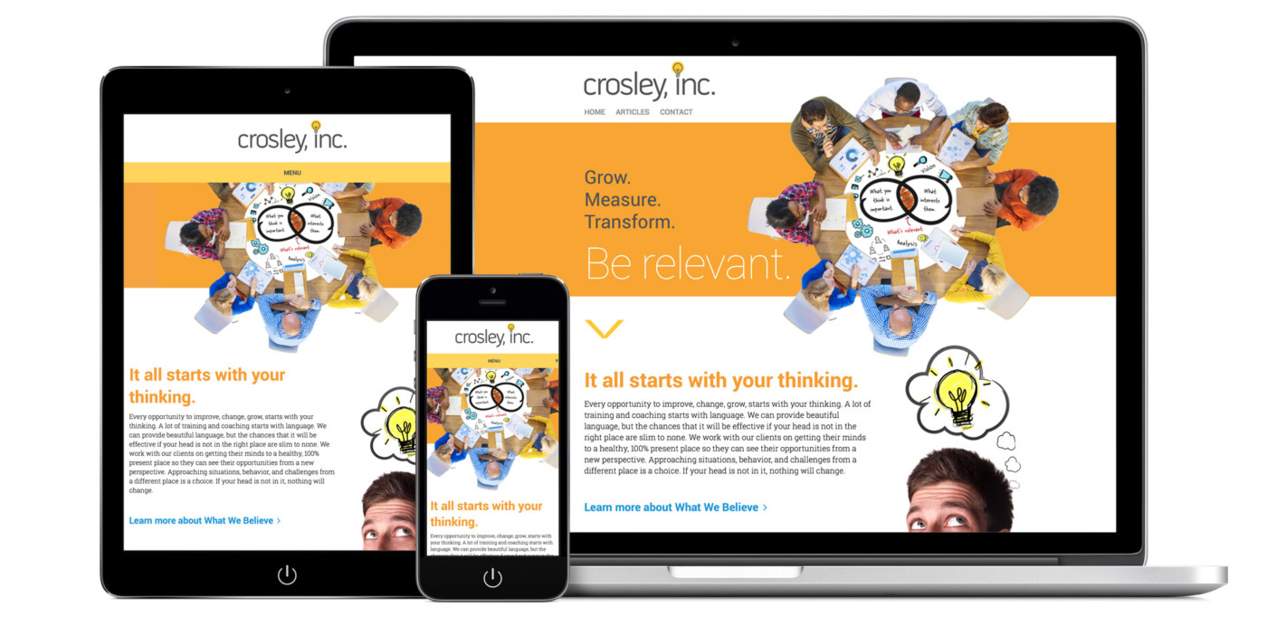 Crosley Website Design and Development, views of website on laptop, mobile, and tablet