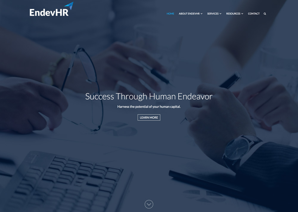 EndevHR Website Design and Development Homepage View with dark blue overlay
