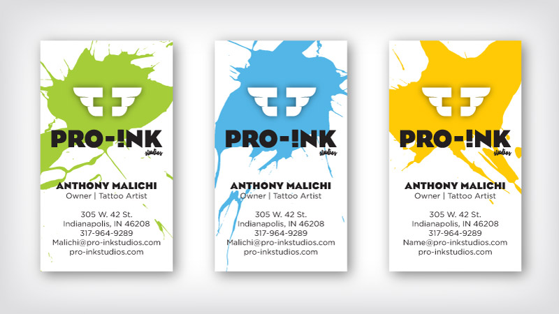 Pro-Ink Branding Business Materials showing three versions of business cards
