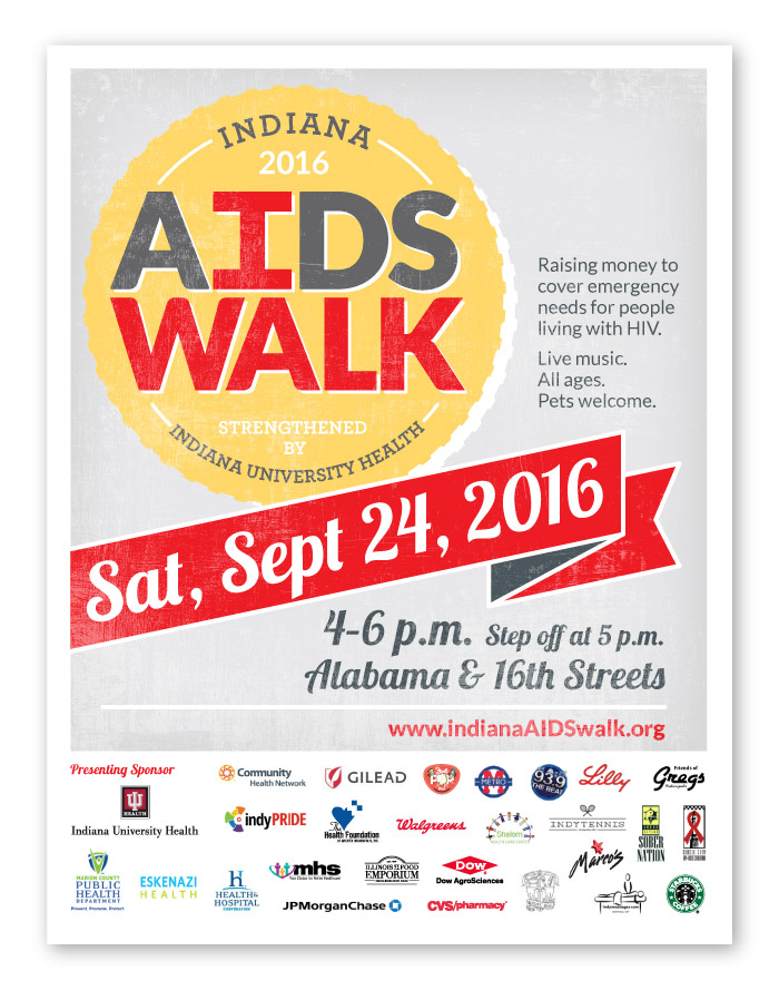 Indiana AIDS Walk Event Materials Design, Sponsors Sign