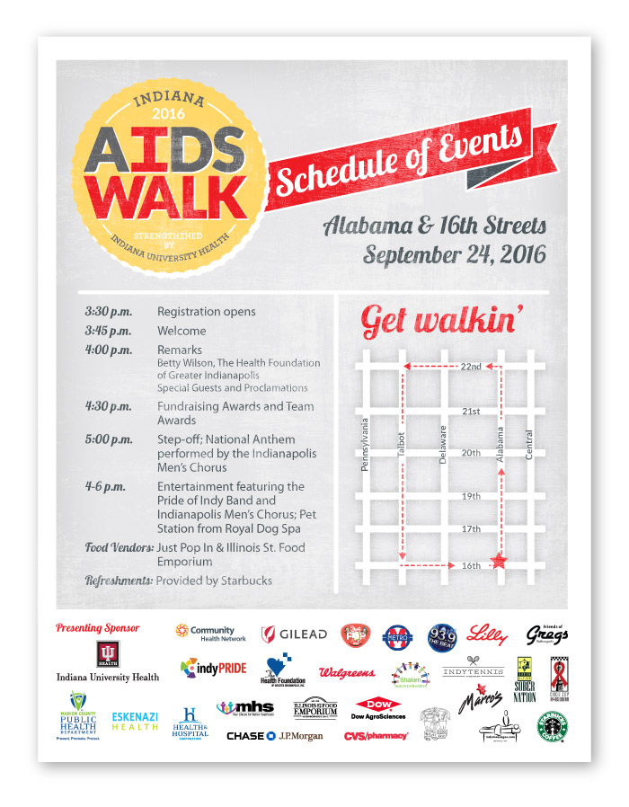 Indiana AIDS Walk Event Materials Design, Schedule