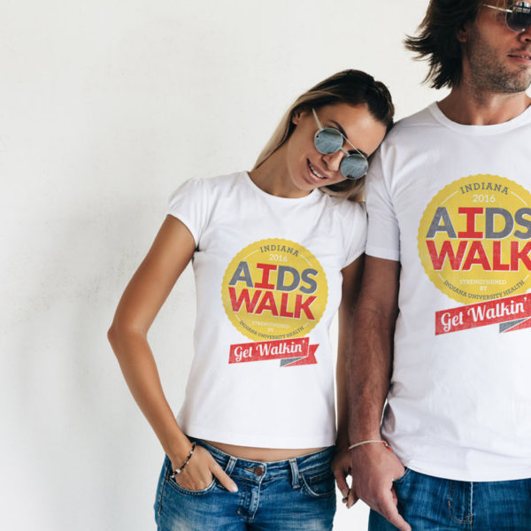 Indiana AIDS Walk Event Materials Design, man and woman wearing white t-shirts with AIDS Walk logo on them