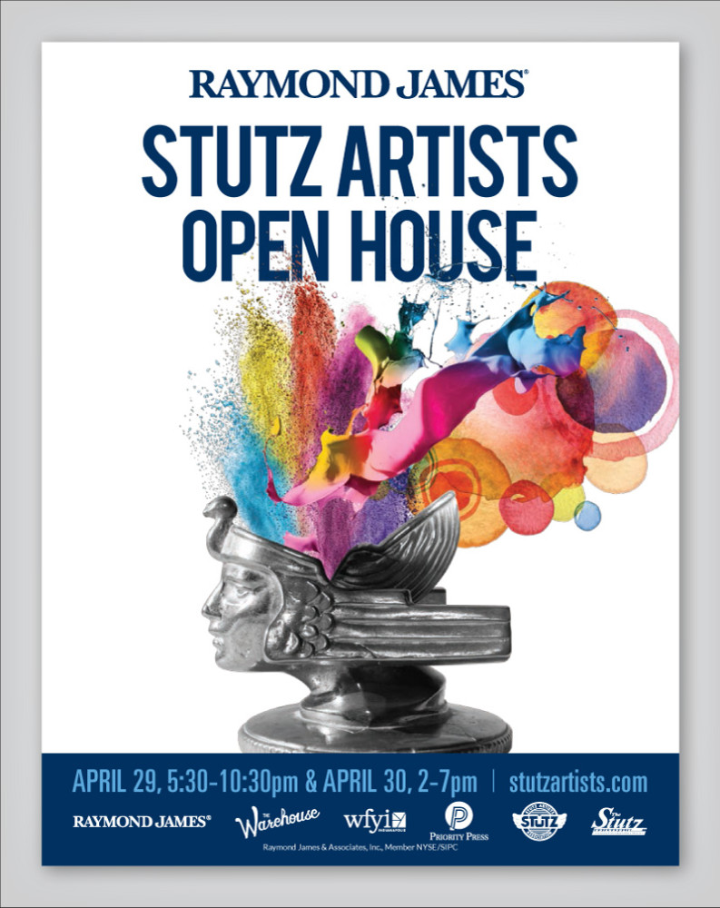 Stutz Artists Open House Poster Design featuring Stutz hood ornament with colorful paint bursts coming out of the head