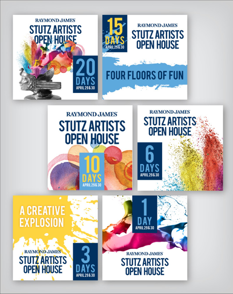 Stutz Artists Open House Social Media Graphics showing a countdown of days until open house