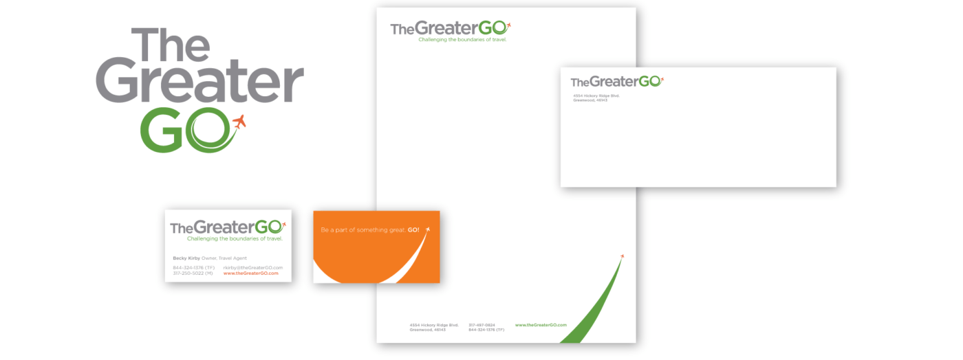 Business materials showing The Greater Go Branding Logo Identity on business cards, letterhead, and envelope
