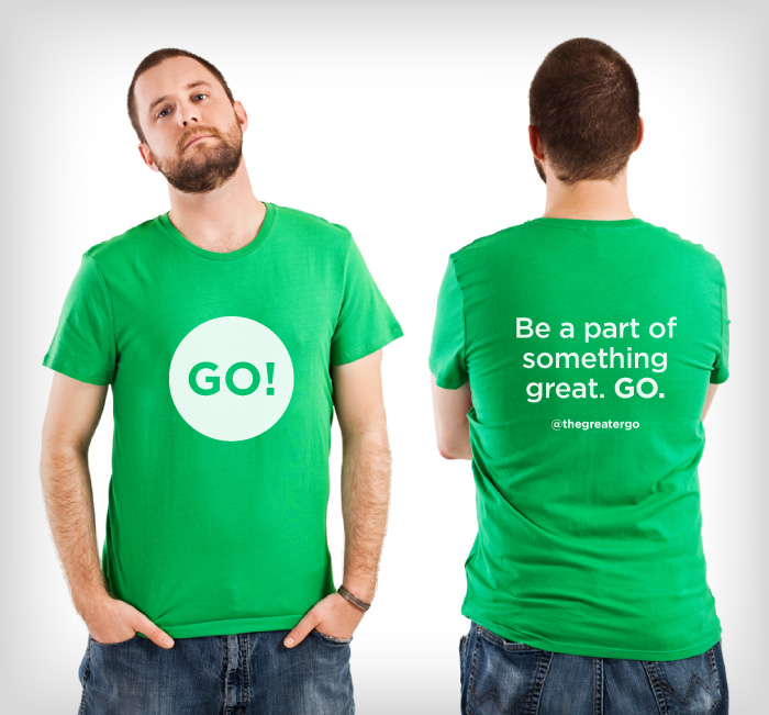 Front and back views of a man in a green t-shirt showing off The Greater Go T-shirt Design