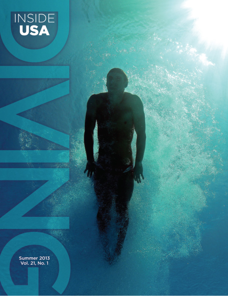 USA Diving Magazine Publication Design, cover of magazine showing male diver under water in a cloud of tiny bubbles