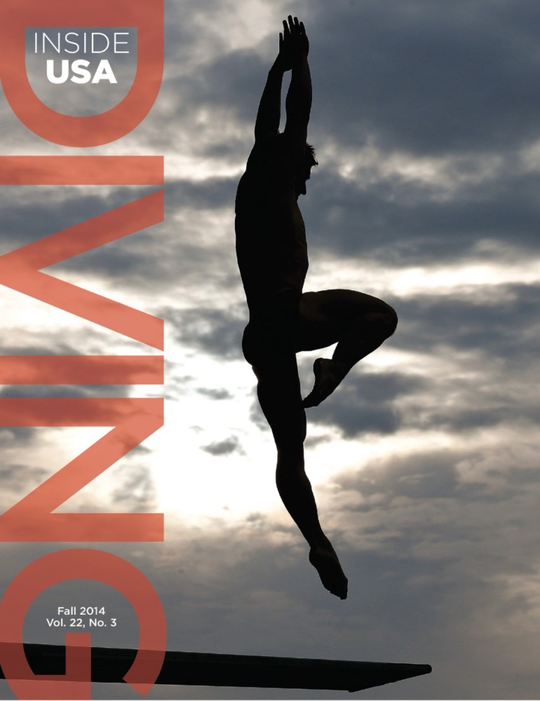 USA Diving Magazine Publication Design, magazine cover showing silhouette of male diver springing upwards off diving board with cloudy sky in background
