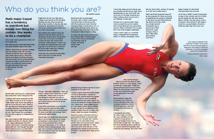 USA Diving Magazine Publication Design, two page spread with female USA diver in mid-dive