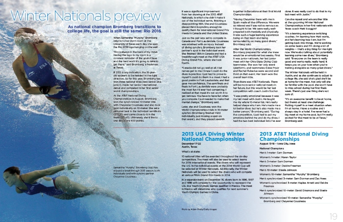 USA Diving Magazine Publication Design, two page spread showing two female USA divers under water
