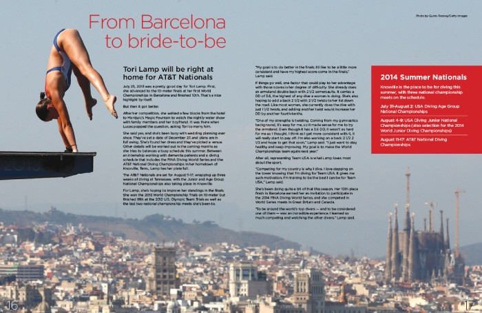 USA Diving Magazine Design, two page spread showing a woman about to dive off a board with the city of Barcelona in the background