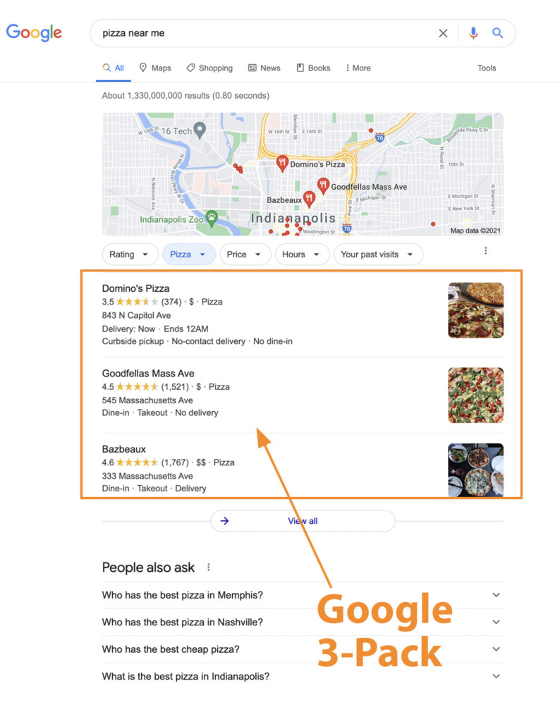 screenshot showing the Google 3-Pack in search results