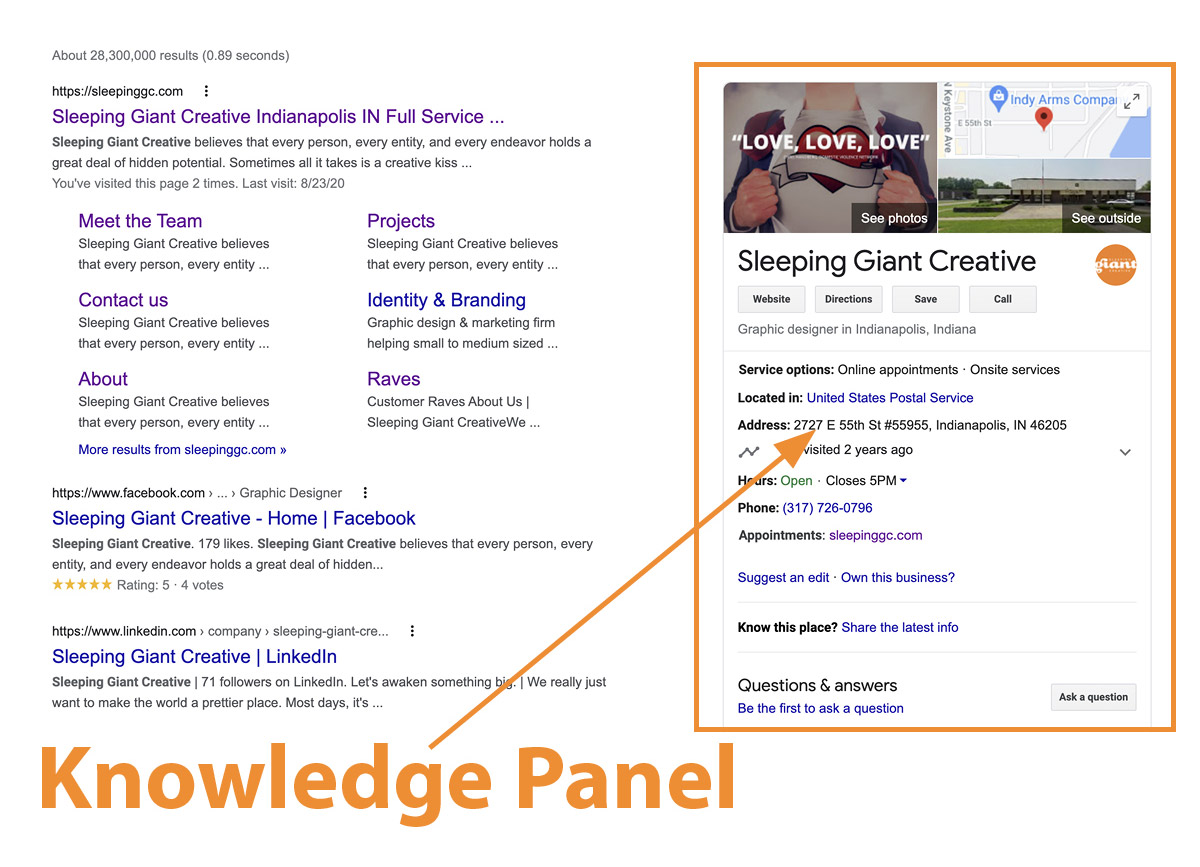 Screenshot showing the Google knowledge panel on the right hand side of the search results